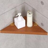 Retro Rustproof Wooden Bathroom Corner Storage Rack Commodity Triangular Shelf Burlywood