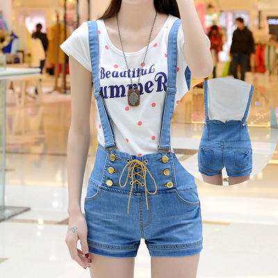 2015 NEW fashion high waist denim overalls women denim shorts ...