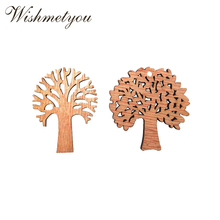 WISHMETYOU 10Pcs Natural Wooden Tree Embellishments Diy Crafts Decor For Wood Slices Party Kids Handmade Card Accessories