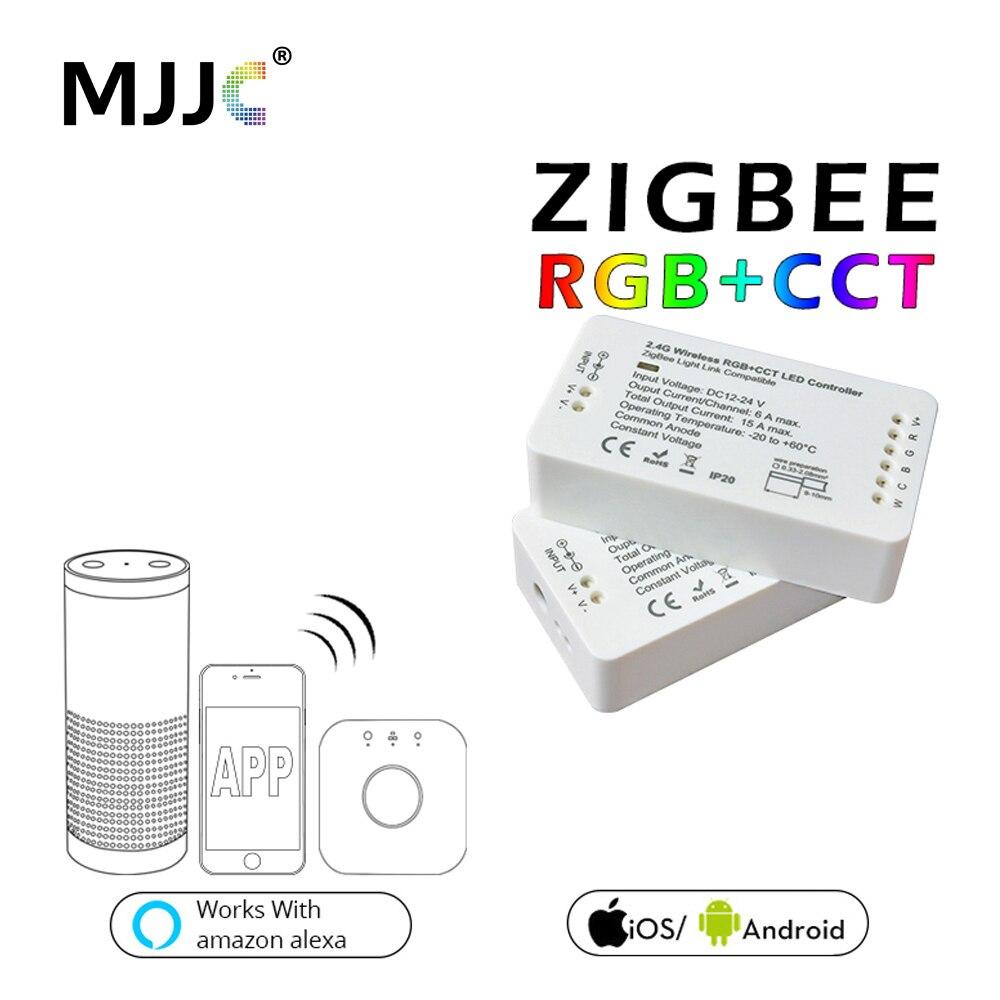 Contrôleur ZIGBEE LED de contrôle rvb CCT Zigbee contrôleur LED DC12 24 V LED contrôleur ZLL App contrôleur RGBW RGB Zigbee gradateur