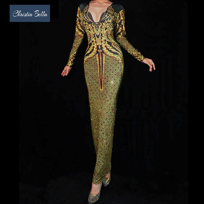 Christia Bella Fashion Women Gold Printing Rhinestone Party Dress Sexy Prom  Nightclub Bodycon Dress Singer Performance 320b9334c0df