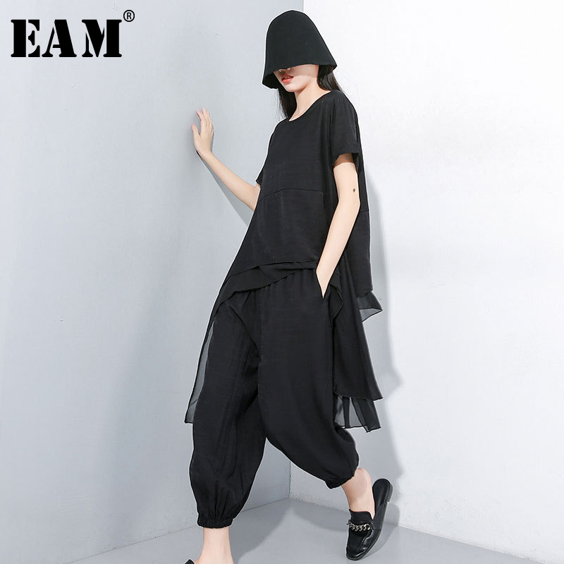 [EAM] 2020 New Spring Autumn Round Neck Short Sleeve T-shirt Black Loose Wide Leg Pants Two Piece Suit Women Fashion JY33901