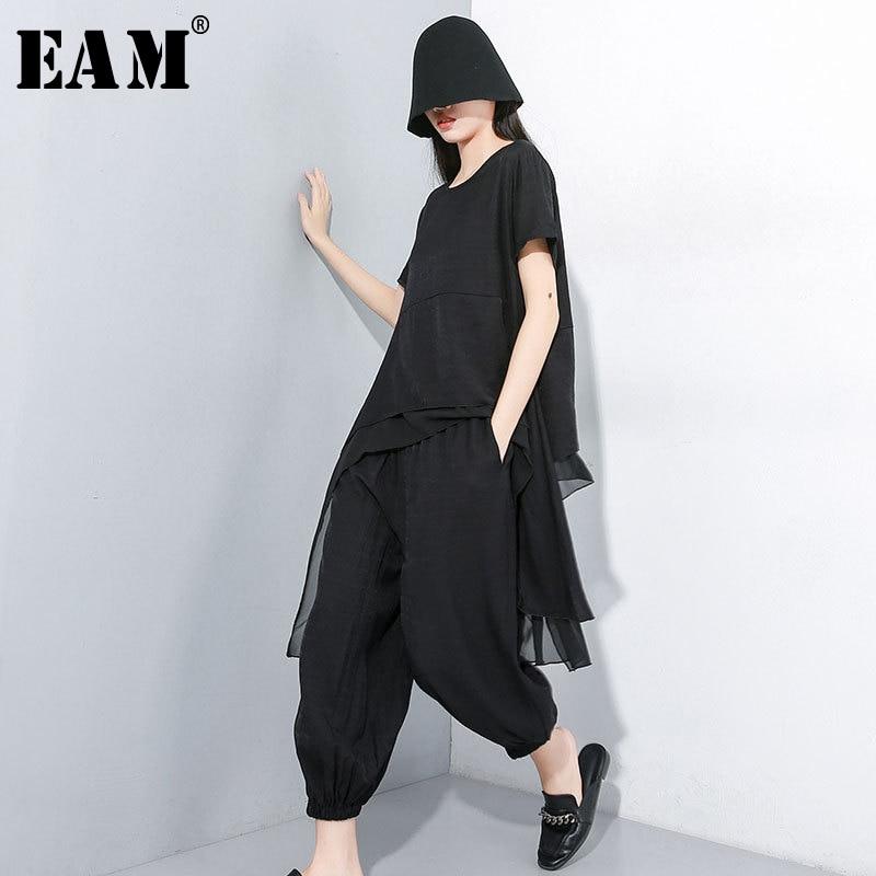 [EAM] 2020 New Spring Autumn Round Neck Short Sleeve T-shirt Black Loose Wide Leg Pants Two Piece Suit Women Fashion JY33901