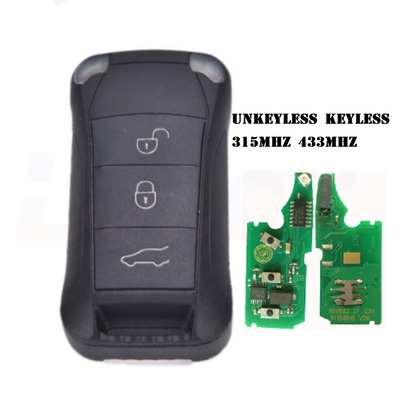 3 Button Remote Key Fob 433MHz/315MHz With ID46 Chip For Porsche Cayenne 2004-2010 Keyless/unkeyless