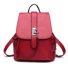 76ae2623323c New Casual Pu Leather Women s Backpack Solid Schoolbag Female Backpacks  Women Preppy Style High Quality Brand