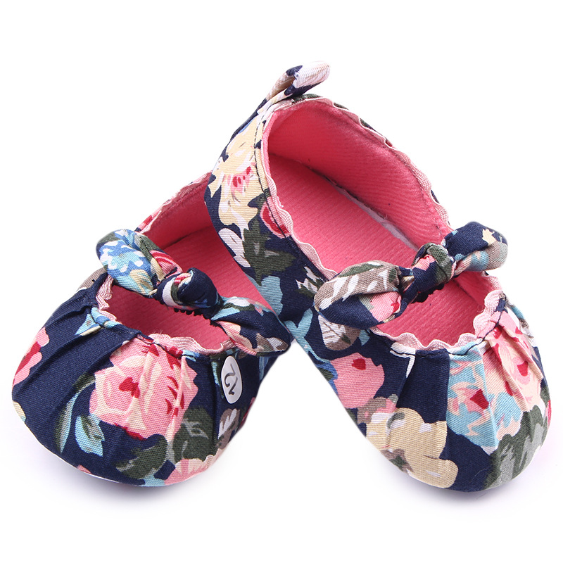 1 Pairs Lytwtws Kids Girls Boys First Walkers Newborn Flower Bow-knot Canvas Baby Toddlers Shoes Children