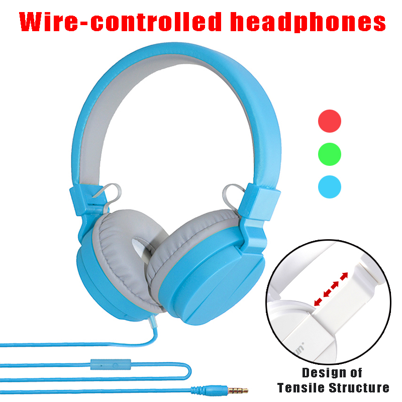 20PCS Wholesale Foldable Candy Color Headphones 3.5MM Wired Control Headsets with Microphone for Mobile Phone Computer
