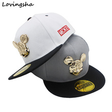 Fashion Boy Baseball Caps 3-8 Years Old Kid Character Metal Logo Design Snapback Caps High Qaulity Adjustable Cap For Girl CC056