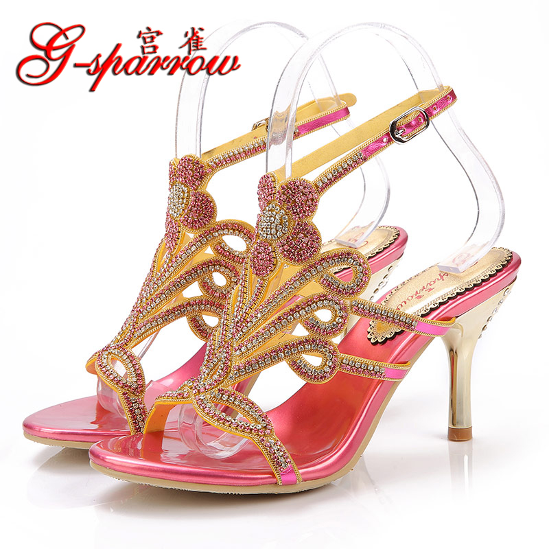 2017 Summer Fashion Sexy Girl Golden Butterfly Rhinestone Thin High Heels Women Crystal Sandals Peep Toe Woman Wedding Shoes summer zapatos mujer peep toe 15cm thin high heels sandals crystal platform sexy woman shoes wedding dance shoes