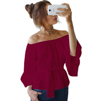 2017 new fashion summer women sexy long sleeve slash neeck off the shoulder tops solid 4 color causual top HD046