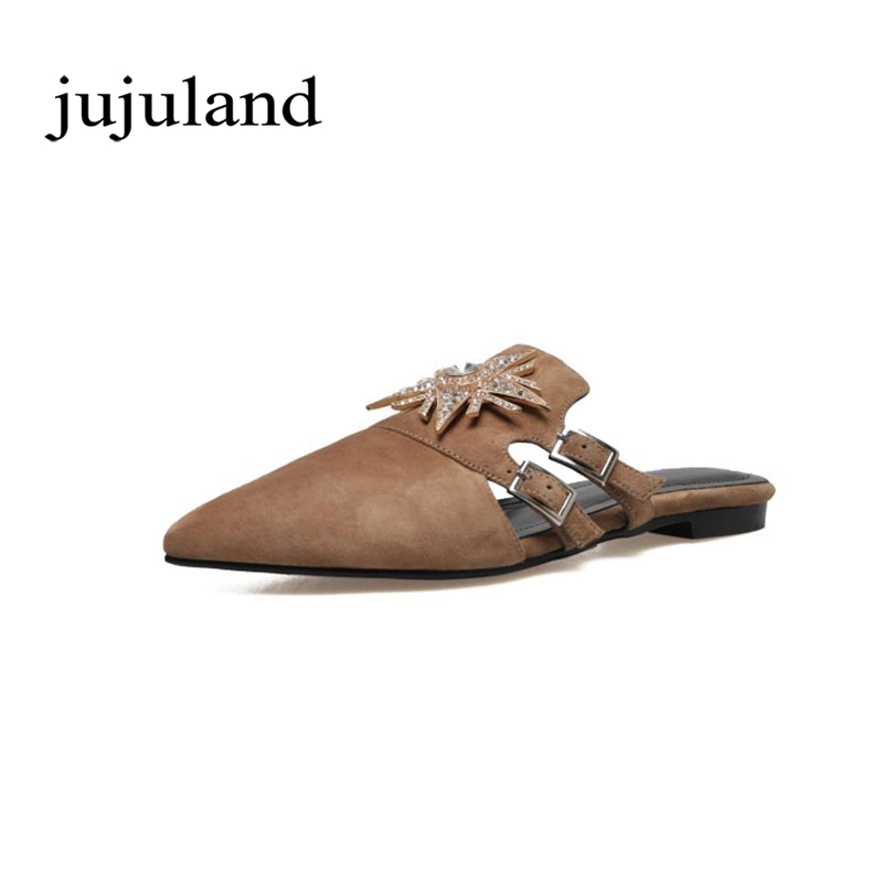 Spring/Autumn Women Lazy Shoes Flats Slippers Mules Crystal Nubuck Flock Big Size Kid Suede Casual Fashion Slip-On Pointed Toe new 2017 spring summer women shoes pointed toe high quality brand fashion womens flats ladies plus size 41 sweet flock t179