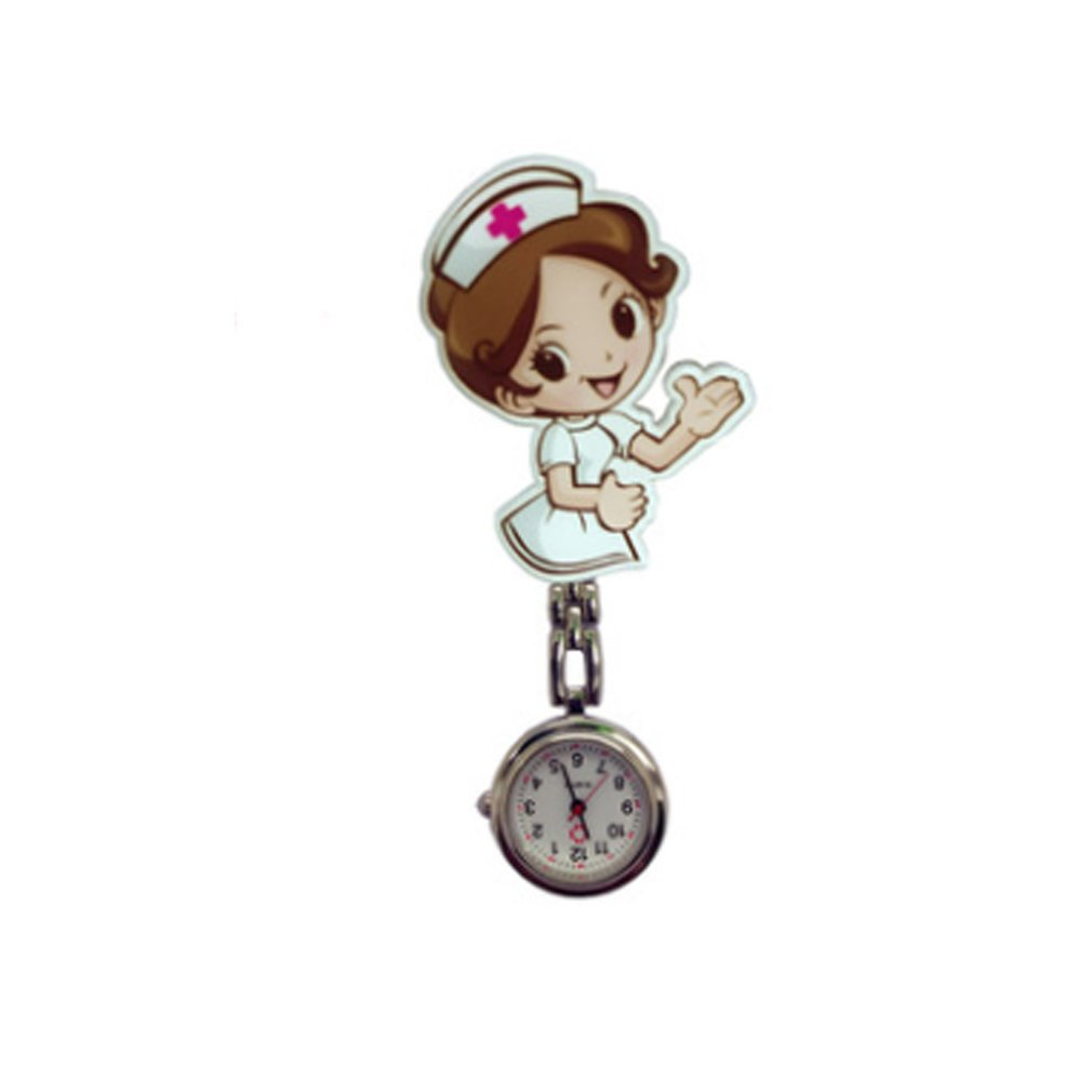 Trendcy Beautiful Flower 3D Cartoon Angel Girls Ladies Women Nurse Watches Unisex Doctor Medical FOB Pocket Hang Clip Watches