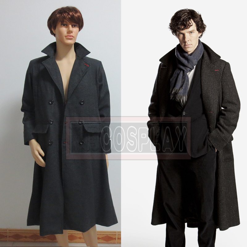 sherlock holmes cape wool coat cosplay costume winter warm windbreaker on. Black Bedroom Furniture Sets. Home Design Ideas