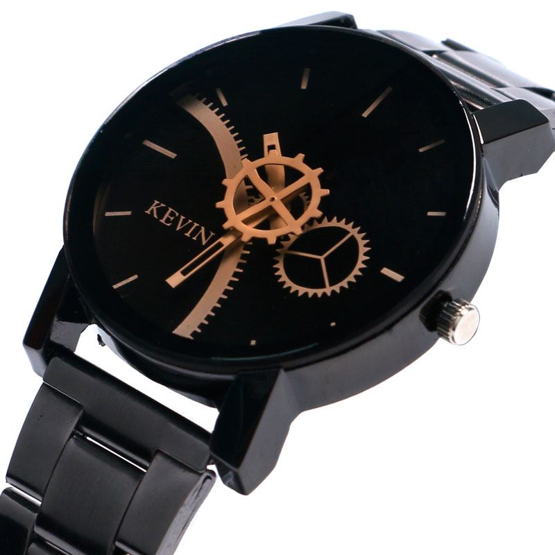 Fashion Full Black Gear Wheel Dial Quartz Watch Men Stainless Steel Band Wrist Watch Male Unique