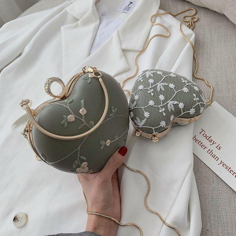 Girls Handbags Purses Embroidery Gold-Chain Heart-Clutch Flowers-Design Women Ladies