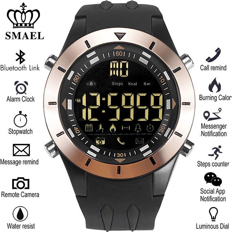 SMAEL Новый Для мужчин Смарт часы шагомер часы Фитнес Bluetooth телефон сообщение Push Спорт Здоровый Водонепроницаемый Smartwatch часы мужской