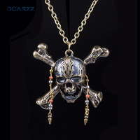 Pirates Of The Caribbean 5 Necklace Dead Pirate Skull Capitan Pendant With Beads Handmade DIY Long
