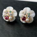 famous brand gold Korean fashion ear jewelry new natural crystal flowers cute female Simple palace natural pearl shell Earrings