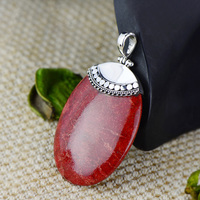 Real Pure Sterling Silver 925 Pendant For Women With Natural Red Coral Gemstones Geometrical Necklace And Pendant