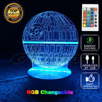 Multiple Stars Wars LED 3D night lights Creative Ambient Light Desk lamp Home Lighting Bulbing Color Change Kids Gifts with Remo
