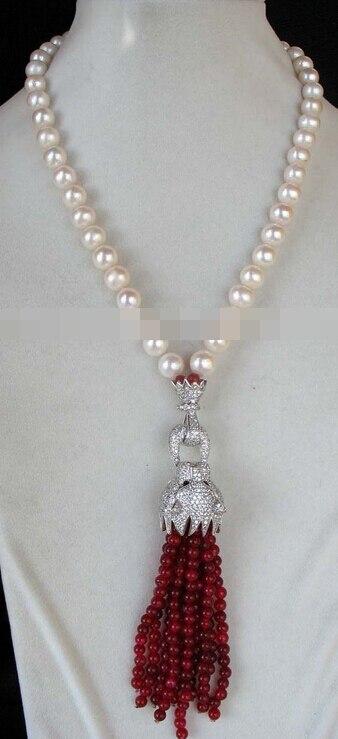 Huij 004907 Nouveau Design 9-10mm Rond Blanc D'eau Douce Perle Fermoir 4mm Rouge Perle Collier 18
