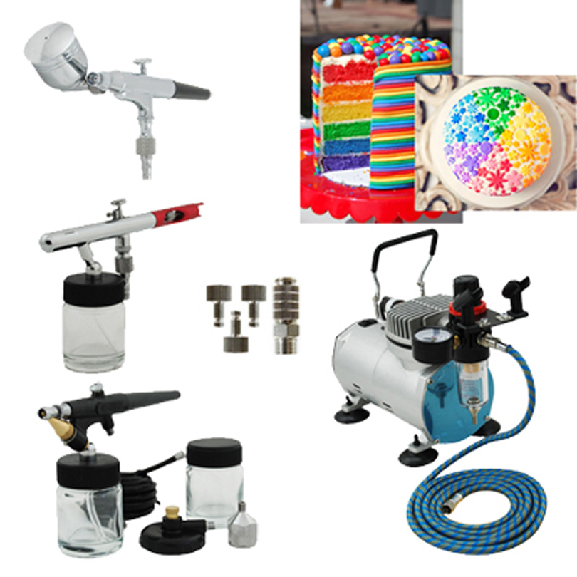 Premium 3 Airbrushes Cake Kit with Air Compressor and Air Hose Cake ...