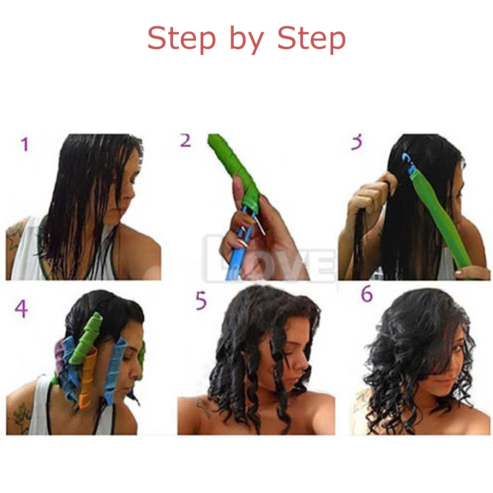 Women's wigs sale Curling Tools 30cm Long 12 Egg Rolls Plastic Hair Roll Water Ripple Magical hair curlers rollers