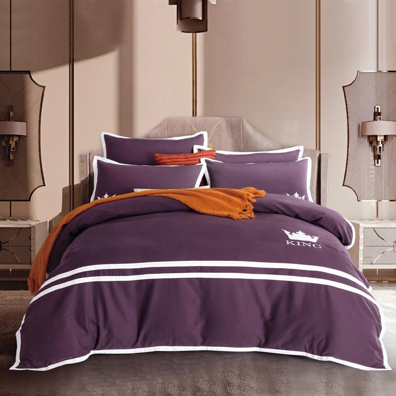 Winter pure color Duvet cover set purple yellow blue
