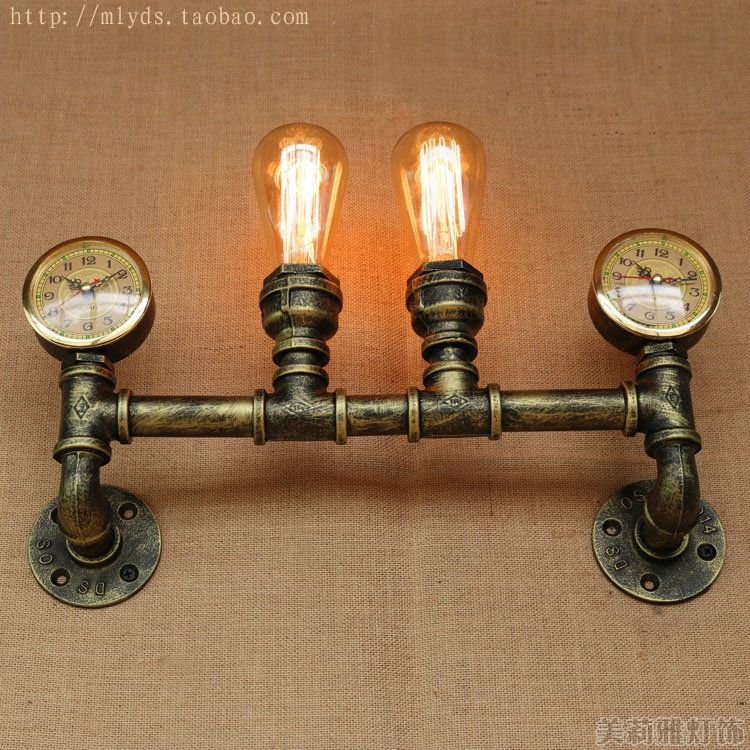 American Country Retro Loft Style Industrial Wall Light Fixtures Appliques Murale Water Pipe Lamp Vintage Wall Sconce american country industrial style wall lights loft 3 heads water pipe wall sconce vintage bronze wall lamp iron art lustre