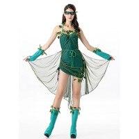 2016 Newest Fantasia Adult Women Green Tree Flower Elves Mesh Dress Novelty Halloween Plant Role Play Costume Tree Fairy Cosplay