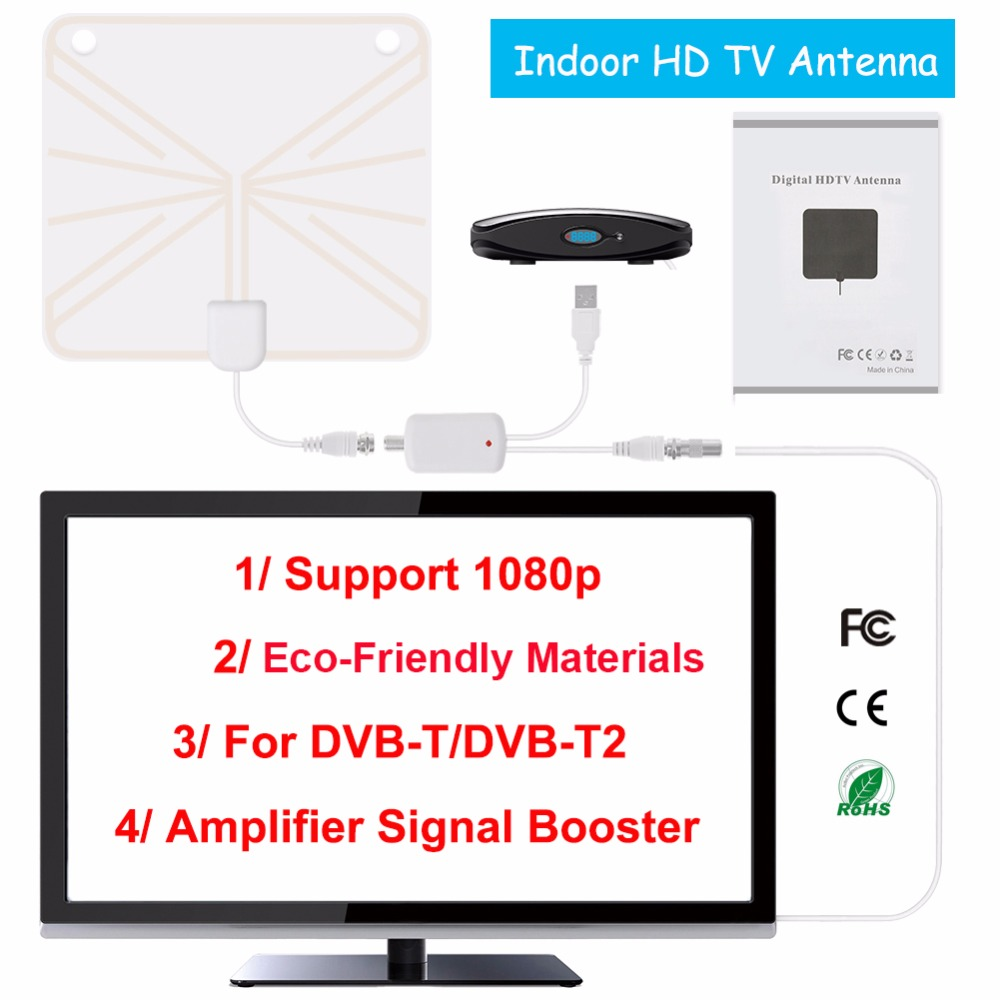 TV Antenne Intérieure HD Numérique TV Antenne avec 80 Miles de Long Gamme Amplificateur HDTV Signal Booster Version Améliorée pour DVB-T /DVB-T2