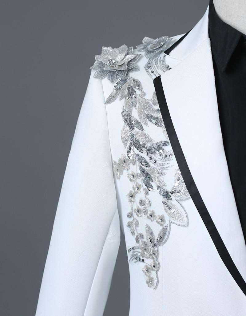 Image 4 - PYJTRL Male Double side 3D Crystal Embroidery Flowers Stage  Singer Nightclub Suit Jacket Tide Bar Mens Wedding Blazer  Masculinoblazer masculinomens wedding blazerwedding blazer -