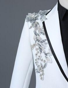 Image 4 - PYJTRL chaqueta con bordado de cristales 3D para hombre, chaqueta masculina de doble cara con bordado de cristales y flores para escenario y club nocturno