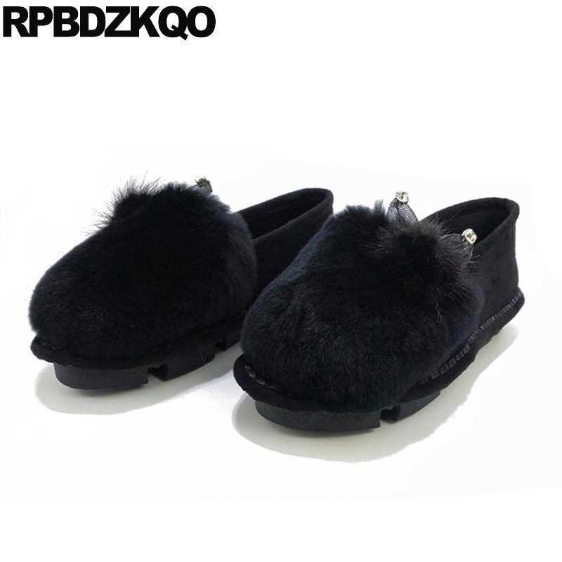 Ladies 2017 Moccasins Flats Beautiful Shoes Suede Fur Slip On Round Toe Women Pointed Black Fashion Diamond Latest Drop Shipping beyarne spring summer women moccasins slip on women flats vintage shoes large size womens shoes flat pointed toe ladies shoes