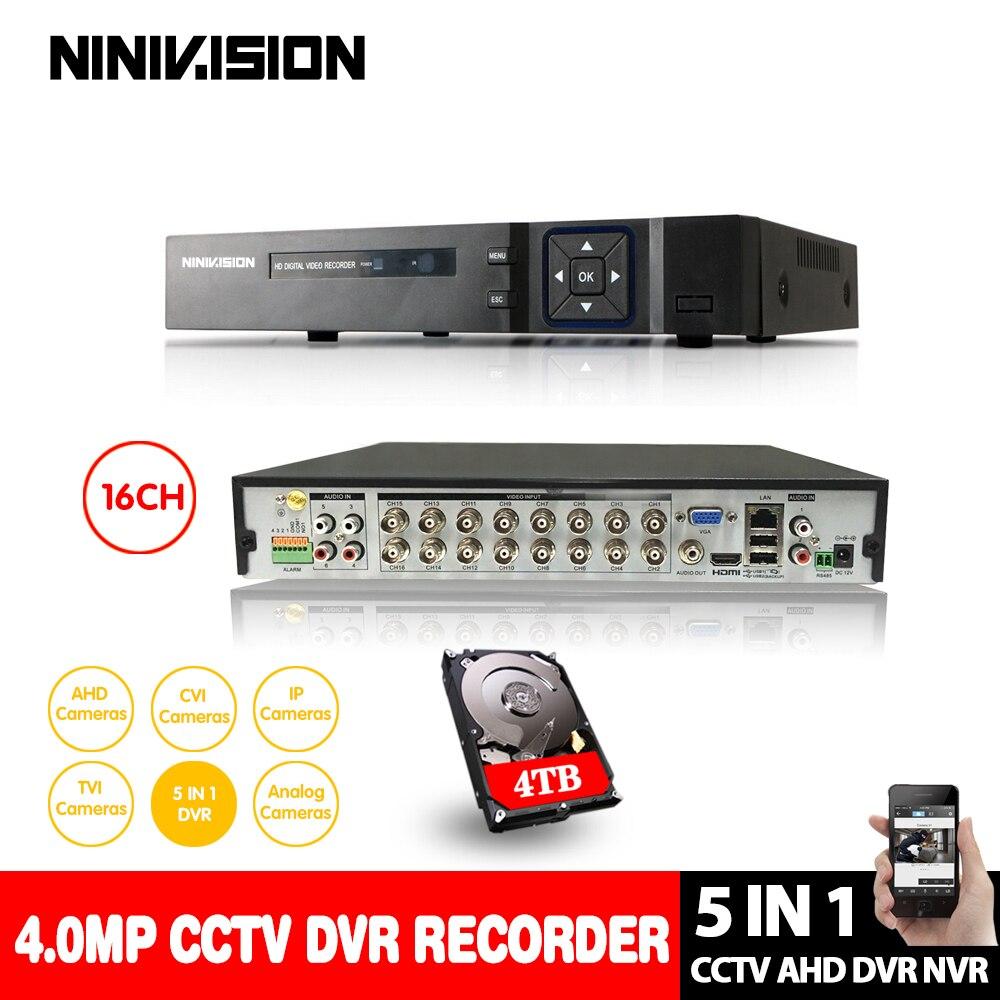 NINIVISION 16 Canais AHD AHD DVR 4MP 5MP 16CH/CVI/TVI DVR CCTV Gravador De Vídeo NVR DVR Híbrido HVR 5 Em 1 para câmera de vigilância