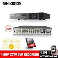 NINIVISION 16Channel AHD DVR 4MP 5MP 16CH AHD/CVI/TVI DVR CCTV Video Recorder Hybrid DVR NVR HVR 5 In 1 for surveillance camera