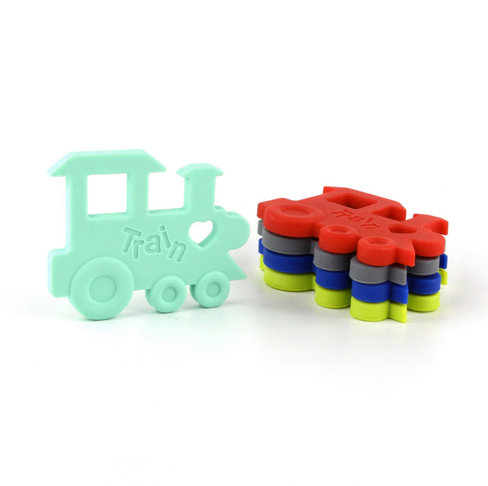 TYRY.HU 10PCS/Lot Train Silicone Teether Toy Tooth Accessory Product Gum Teething Pendant Kit Gift Food Grade Silicone BPA Free