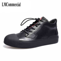 New Korean Men High Shoes Fashion Leather Shoes England Youth Leisure Shoes High