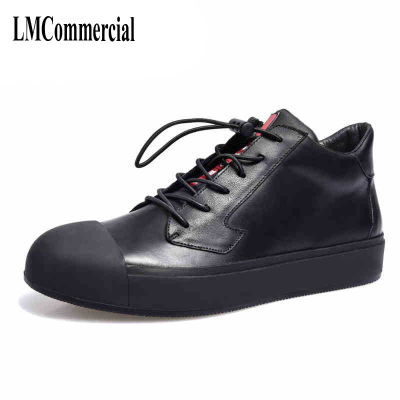 A song of black high supreme leather casual shoes men boots British fashion casual shoes кошелек write a song