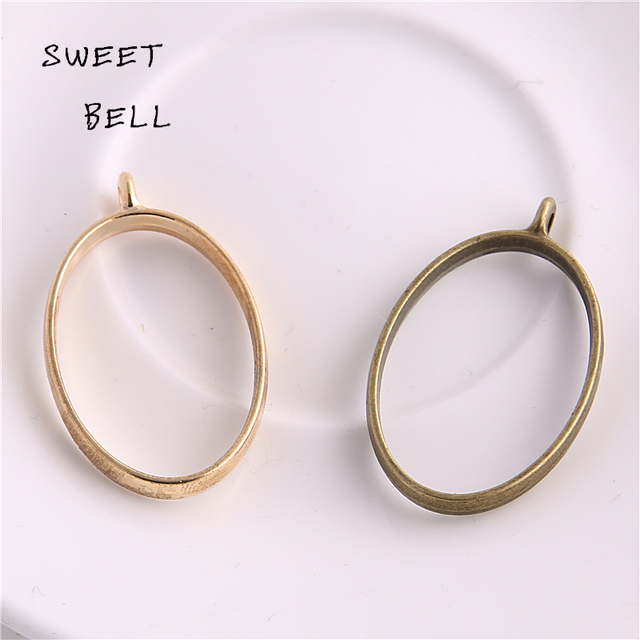 30pc 24*39mm Alloy jewelry setting accessories oval charm Hollow glue blank pend