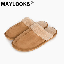 Men's Slippers Winter genuine Leather Cow Suded Thick With Plush Home Indoor Non-slip Thermal Slippers New Hot Sale L-1809(China)