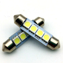 NEW 2 PCS 12V 41MM 4 SMD 5050 2W Car Interior Dome Festoon LED Light Bulbs Lamp White(China)