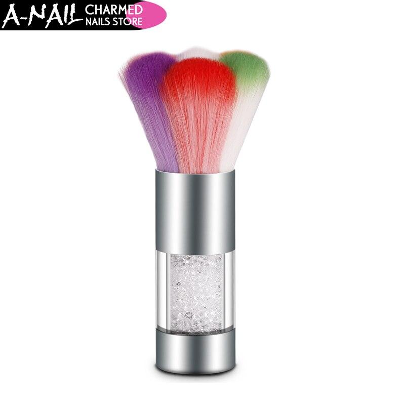 1pcs Colorful Nail Dust Brushes UV Gel Powder Nail Art Dust Remover Glitter Brush Cleaner Rhinestones Makeup Foundation Tool