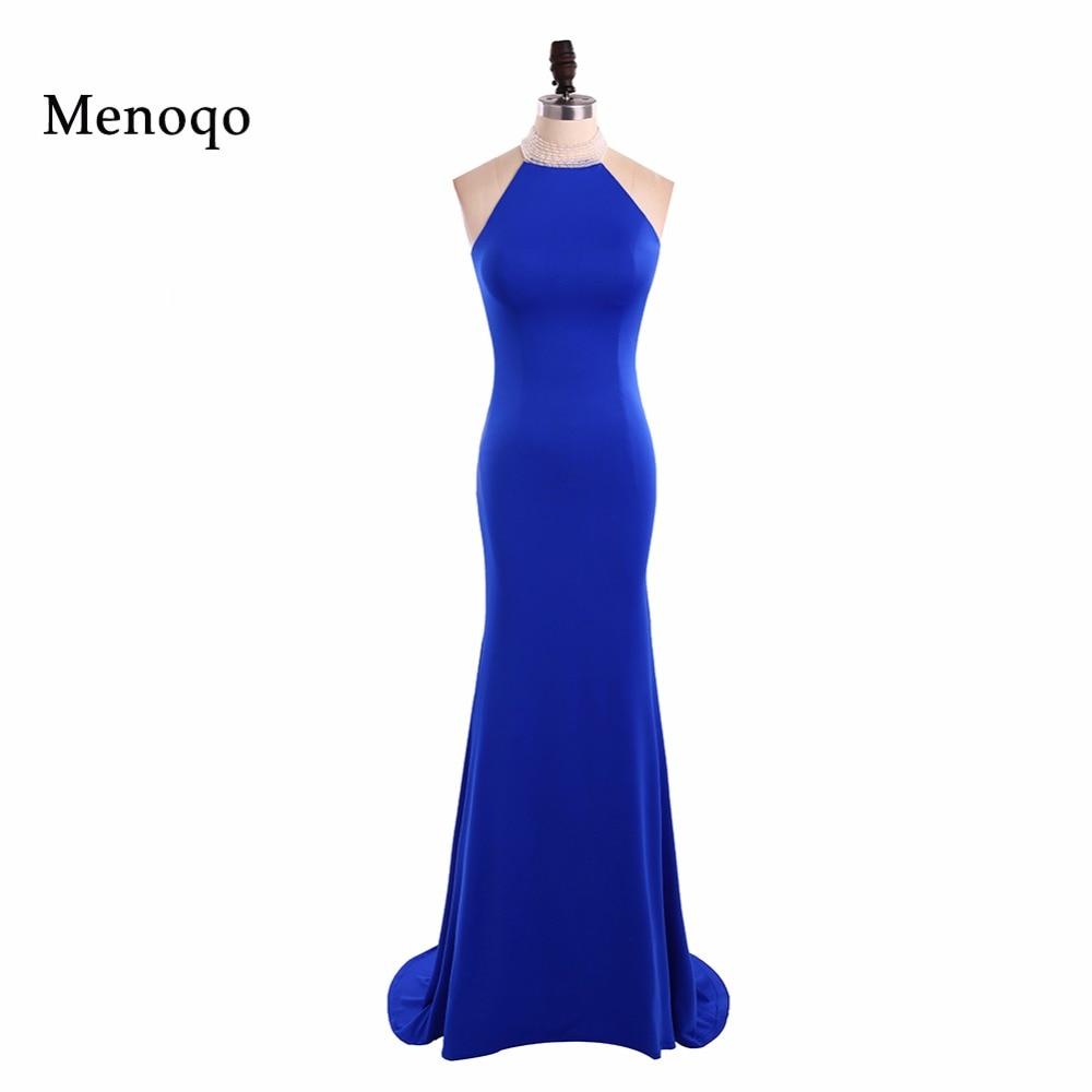 Menoqo Long   Prom     Dresses   Gorgeous Halter neck Floor Length Mermaid Royal Blue Real Picture   Prom     Dresses