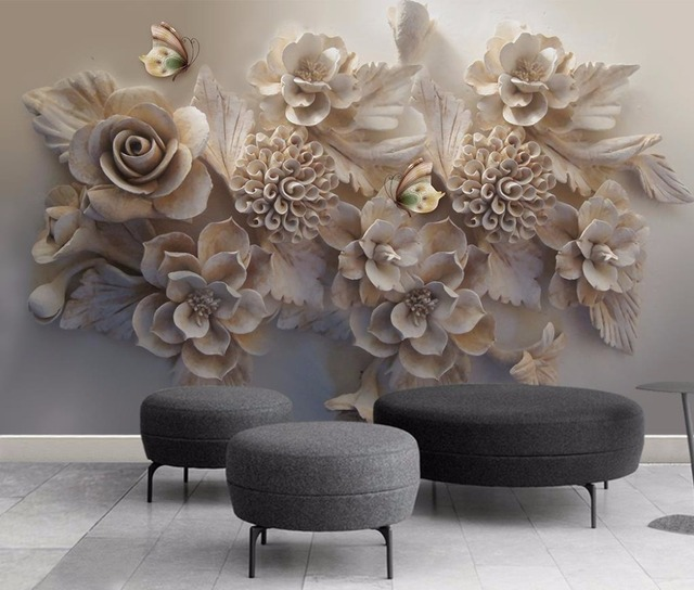 Custom Large Wallpapers For Living Room Stereoscopic flower Wall