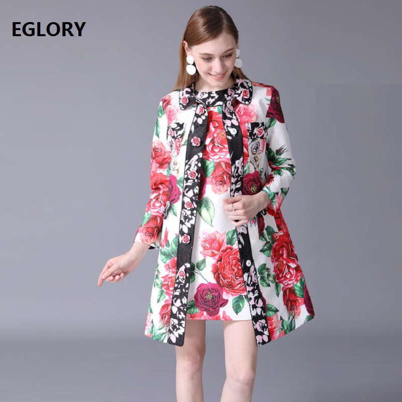 2018   Trench   Coat Autumn Winter Plus Size 4xl 5xl 6xl Women Vintage Rose Flower Jacquard Print Dobby Long Sleeve Long Coat Female