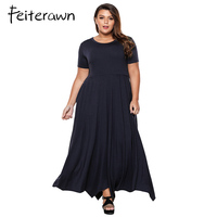 Feiterawn 2018 Mới Đến Mùa Hè Nữ Casual O-Cổ Pockets Đen Hải Quân Đỏ Cộng Với Kích Thước Jersey Khăn Tay Hem Maxi Dress