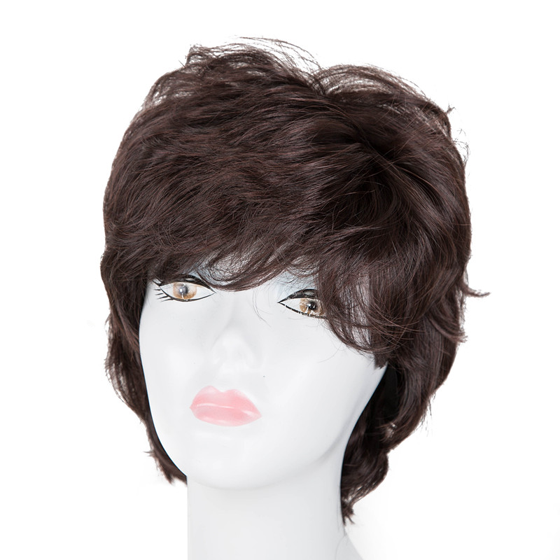 Fei-show Inclined Bangs Hair Synthetic Heat Resistance Fiber Dark Brown Short Curly Children Wigs For 50cm Head Circumference Latest Technology Synthetic Wigs