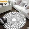 SMAVIA Home Textile 3D Round Carpet Geometric Fleece Fabric Doormat Anti Skid For Living Room Balcony