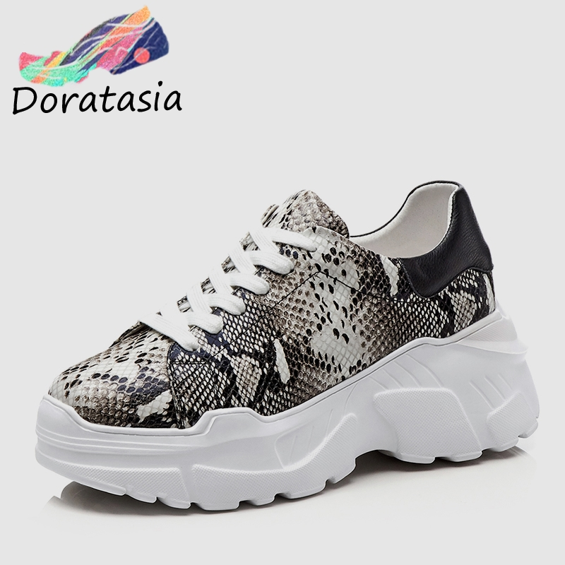 DORATASIA Spring New Western Style Girl Snake Veins Sneakers Women 2019 Whole Genuine Cow Leather Fashion Dad Shoes Woman